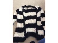 Black and white striped women's cardigan