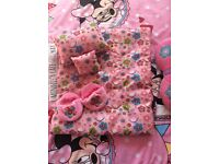 BUILD A BEAR BLANKET SET AND SLIPPERS