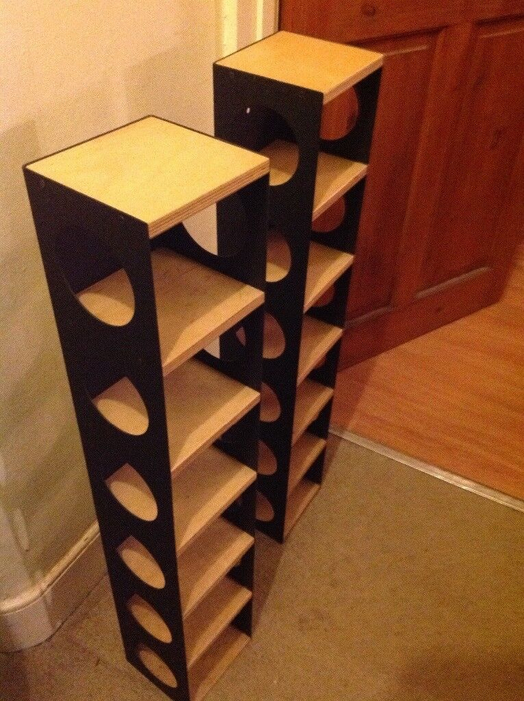 Set of CD racks, 2 wood & painted metal (black)
