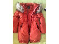 Girls orange coat 10-11 age