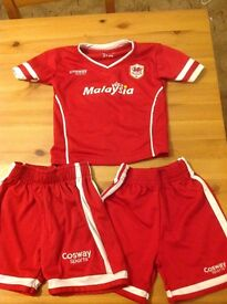 Cardiff City Football Kit Age 2-3
