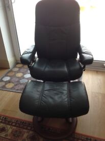 Ekornes Stressless Recliner Armchair and Footstool