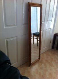 Tall mirror with solid wood surround
