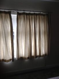CURTAINS WITH LININGS-- LAURA ASHLEY--NEUTRAL AWNING STRIP