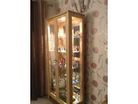 Solid Light Oak Display Cabinet