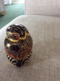 ROYAL CROWN DERBY, COLOURFUL OWL, BLUE/GOLD STOPPER. GREAT CONDITION.