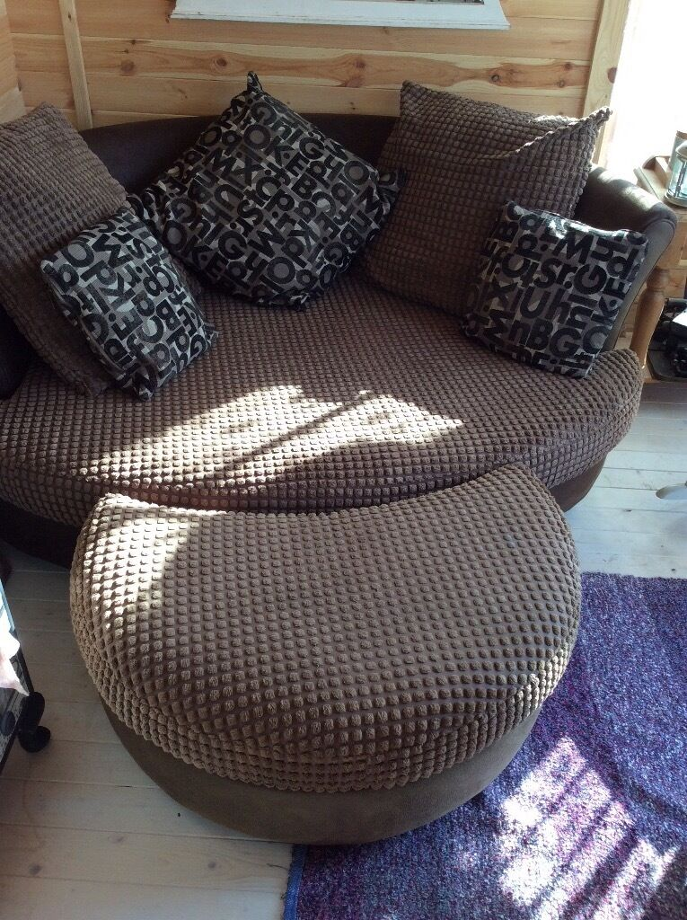 lovely large comfortable sofa oval round shape footstool vgc in west end hampshire gumtree. Black Bedroom Furniture Sets. Home Design Ideas