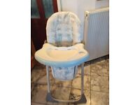 unisex,great feeding chair, pull off feeding table, going cheap. folds to close. pick up only. local