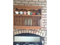 Wooden Dish / Plate Rack Wall Mounted