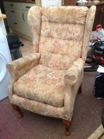 High back winged chair for refurbish project