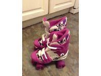 Roller skates, white and purple, quad, adjustable size 10 -13