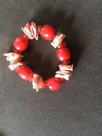 Red Shell/Bead Bracelet