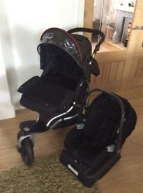 Pushchair- 3 in 1 travel system including foot muff and rain coverbase. Good condition