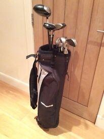 Golf Clubs – Second Hand Yonex Irons, Sand Wedge, 3 Metal Woods, Putter & Bag