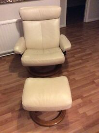 Cream Leather Stressless Chair and Footstool