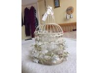 10 Vintage style bird cage centre pieces with internal hurricane vase and
