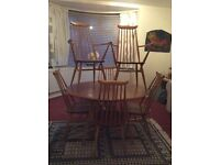 Ercol table + 6 chairs