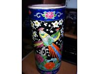 CHINESE FAMILLE NOIR VASE DECORATED WITH BIRDS OF PARADISE