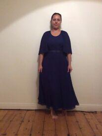 Vintage blue Maxi dress 70's Retro Party Casual Evening size M/L
