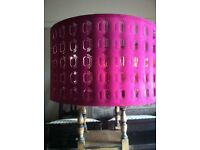 Extra Large Ikea Cut Out Design Lamp Shade Light Shade Burgundy Pink and Copper