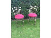 pair of heavy metal swivel high backed chairs 2 x swivel bar stools
