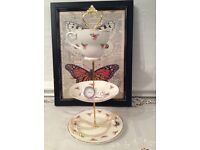 3 Tier Jewellery Stand, made from Vintage Bone China Tea Cup, Saucer & Tea Plate