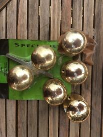 Reproduction brass door knobs x 6