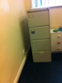 5 Metal strong & sturdy cupboard. It has 4 drawers. It has locking facilities with keys. £8 each.