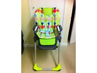 Used High Chair but with Brand New Covers. Reclining and foldable.