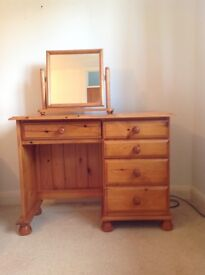 Solid Pine Dressing Table with mirror plus headboard