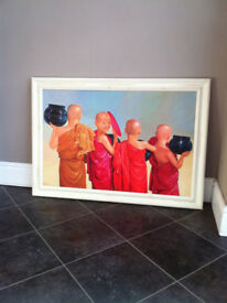 New Large Oil Painting, 100 x 70 cm, Buddhist Monks, Meditation, Asia, Burma, Serenity, colourful,