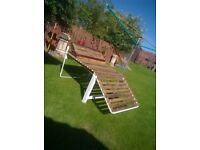 sun lounger wooden slats metal frame ( large )