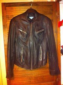 Woman's black genuine leather jacket size 10