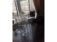 3 large glass candle holders