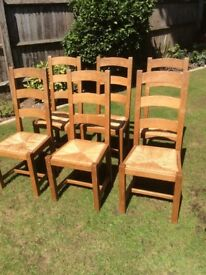 6 Solid Oak Dining Chairs