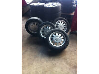 """Audi alloy wheels 5x112 15"""" with part worn tyres £140 ONO"""