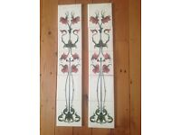 Ceramic art deco insert tiles for reproduction Victorian Fireplace - set of 10