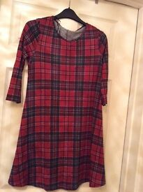New ladies red tartan dress / tunic size 12 with tags