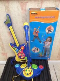 Toy guitar and microphone unisex set. Jam n Keys