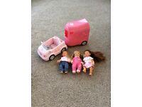 Zapf Creations Baby Born Car and Horse Box with three mini dolls