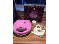 """Donut Bakery"" mini doughnut maker in tin box, excellent condition"