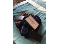 Bundle of15 pairs of wide topped socks leather wallet and box of hankies