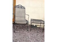 2 wrought iron garden chairs and table