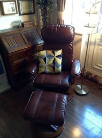 Fairly new good quality reclining leather chair with footrest