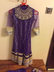 Girls purple anarkali dress size 28