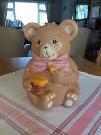 Pottery teddy bear cookie jar