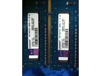 KINGSTON PC RAM MEMMORY 4gb (2x2gb) 1Rx8 PC3