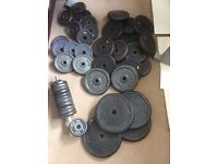 200kg of various vgc cast iron weights from York,Body Sculpture,YB,DP,Pro Power.