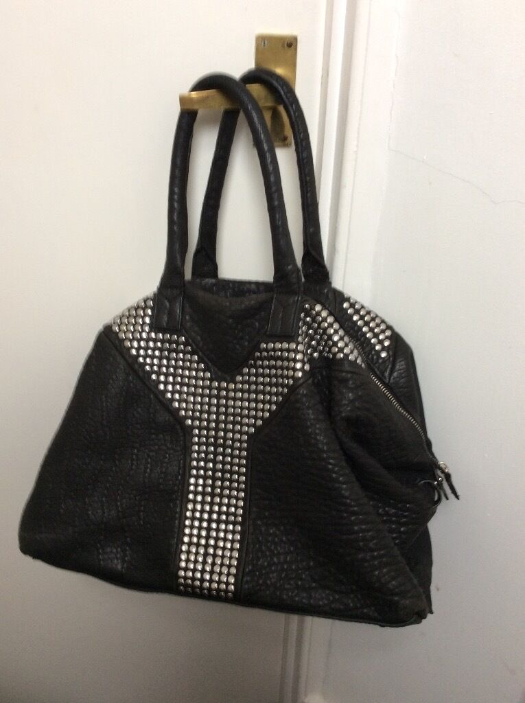 Yves Saint Lau Ysl Large Easy Studded Black Leather Hand Bag