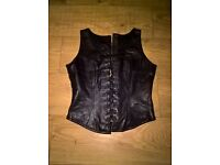 ladies real leather outfit biker style vintage pants +2 Basques size 10-12